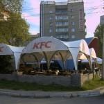 Тент-шатер сложной формы для летнего кафе KFC в Новосибирске