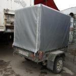 Изготовление тента серебристого цвета на легковой прицеп в Новосибирске. Размер тента - 190х155х145 см.
