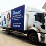 Печать рекламы на сдвижных шторах грузовика